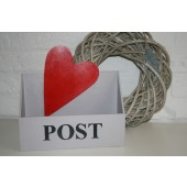 Houten Postbak grijs met hart