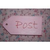 Houten Labeltje Roze Post