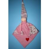 Knuffelpopje Roze met hartje