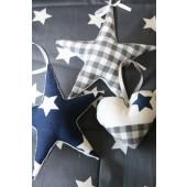 set van twee stoffen sterren en hartje blauw/grijs