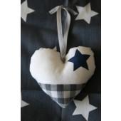 stoffen hartje wit met blauwe ster en grijze boerenbont stof
