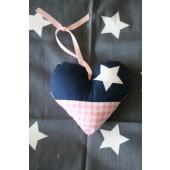 stoffen hartje blauw ster en roze boerenbont