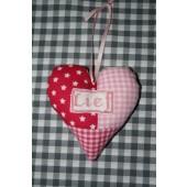 gepersonaliseerd stoffen hart roze/fuchsia