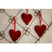 5 kleine hartjes fluweel rood