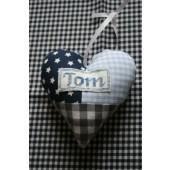 gepersonaliseerd stoffen hart blauw/grijs